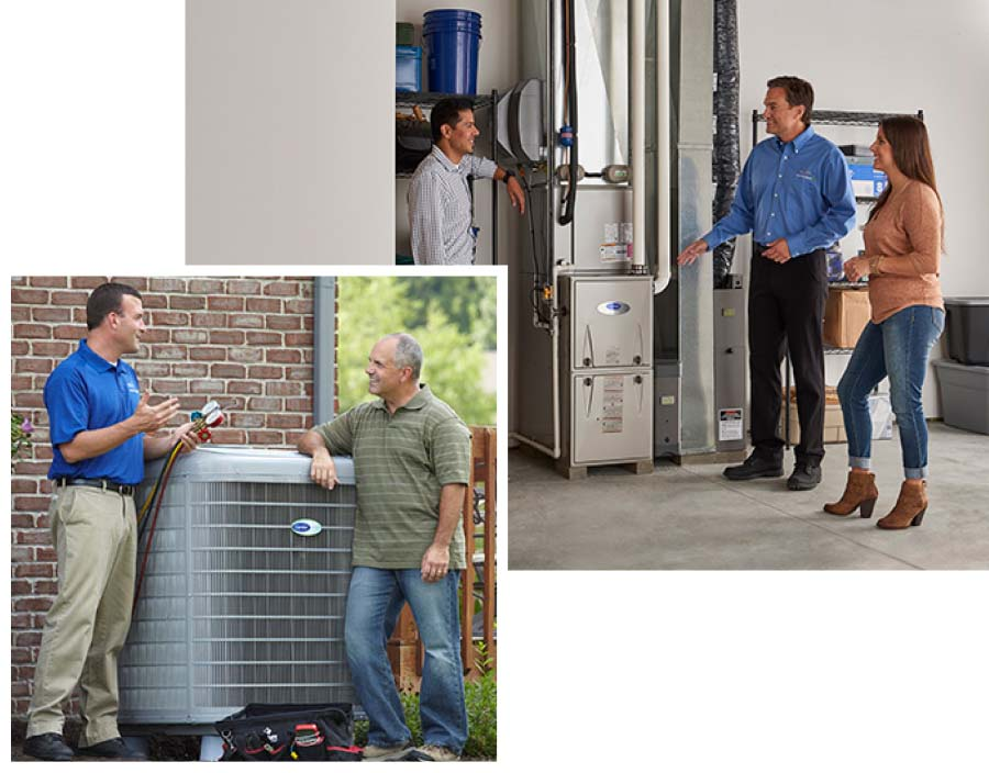 Carrier service repairmen meeting with client and looking and furnaces and air conditioning units
